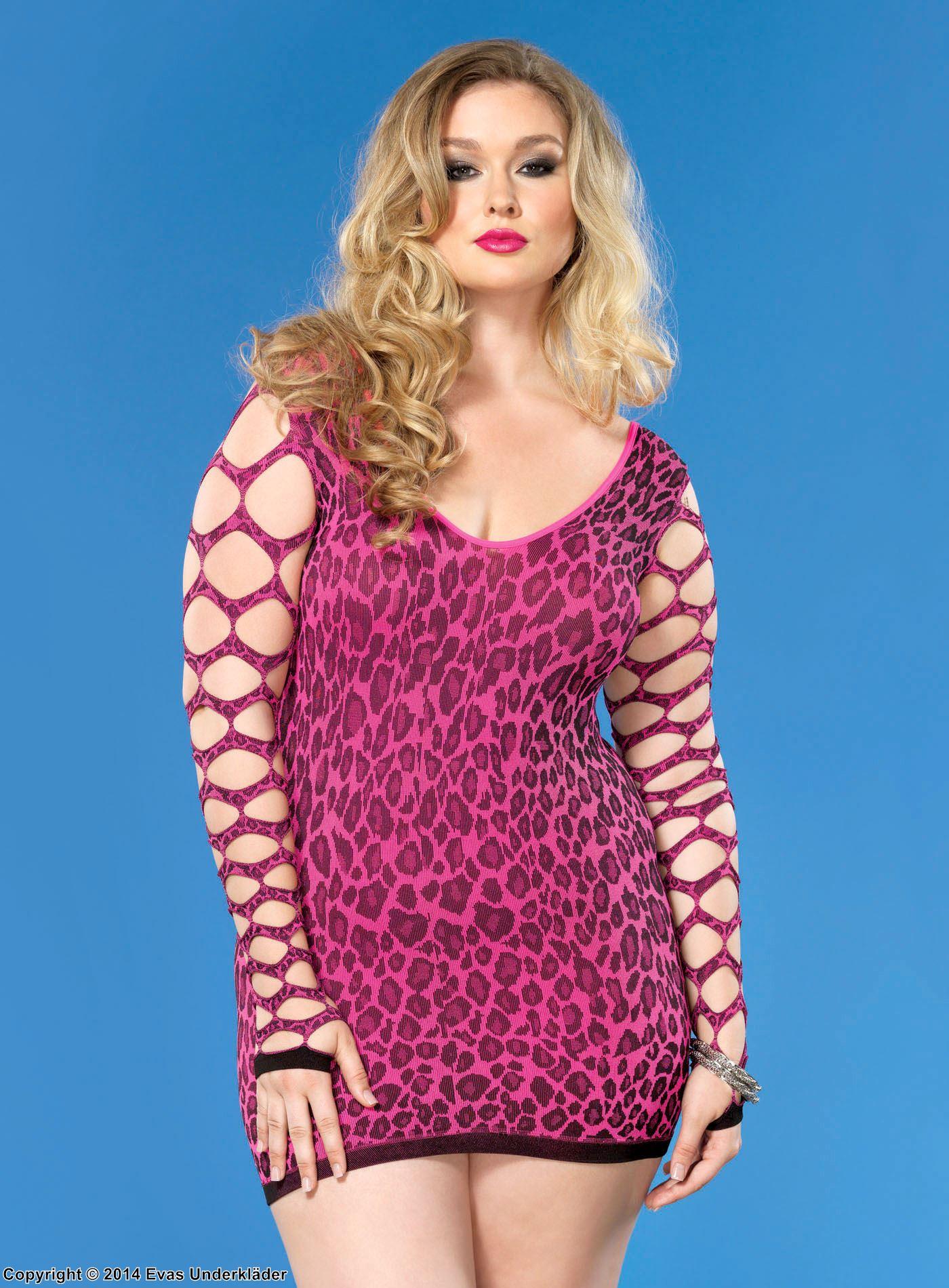 Leopardmönstrad minidress med hålmönstrade ärmar, plus size